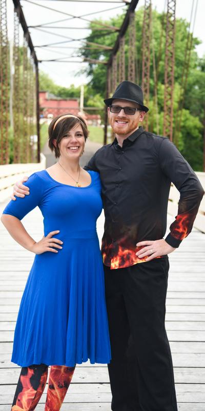 MN Balloon Artists - Jelly & Matt Otis posing on the historic bridge in Hanover, MN!